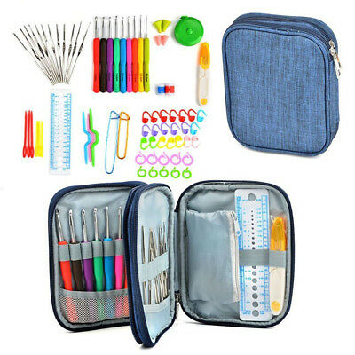 72Pcs/Set Crochet Hooks Kit Yarn Knitting Needles Sewing Tools Grip With Bag NEW