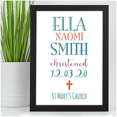 Personalised Girls Boys Christening Gifts Godson Goddaughter Nursery Wall Art