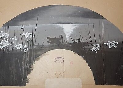 An Original ink & Colour 19th C Meiji period Kyoto Fan Painting.