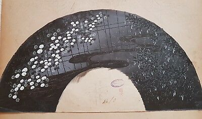 An Original ink & Colour 19th Century Meiji period Kyoto Fan Painting.