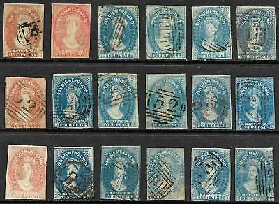 TASMANIA 1850's Chalon Heads 1d (4) & 4d Blue (14 incl STAR Wk) imperforate USED