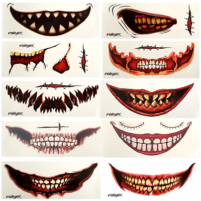 👻 HALLOWEEN BIG MOUTH TATTOO Scary Costume Joker Smile Fancy Dress Costume👻