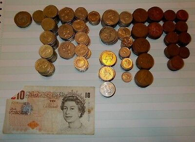 102.61 British pounds coins & banknote lots