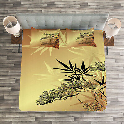 Asian Quilted Coverlet /& Pillow Shams Set Gradient Bamboo Leaves Print