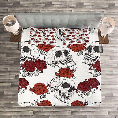 Halloween Quilted Bedspread & Pillow Shams Set, Roses Gothic Skull Print