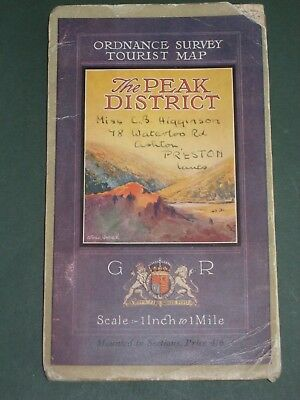 Vintage 1935 Map -  Ordnance Survey - The Peak District