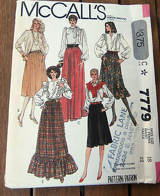 Oop McCalls 7779 Misses Gathered Skirts ruffles size 18 NEW