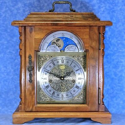 Vtg. EMPEROR Walnut Bracket Clock, Moonphase & Westminster Chime- Key Wind 8 Day