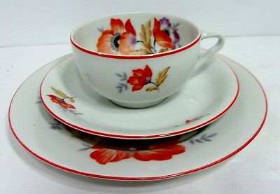 VTG Red Peony Flowers White Porcelain Tea Set Cup Saucer Luncheon Dessert Plate