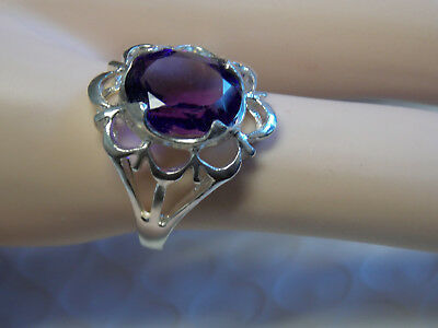 NATURAL 4ct purple amethyst 925 sterling silver ring size 7.75 USA
