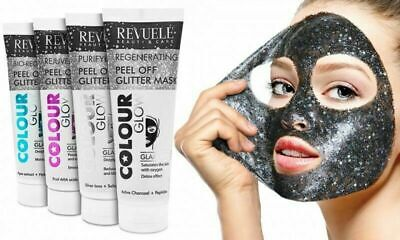 Revuele Facial Peel Off Glitter Mask - Pink / Blue / Black /Silver FREE P&P