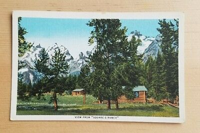 Linen postcard, View from 'Square G Ranch,' Jenny Lake, Wyoming near Grand Teton