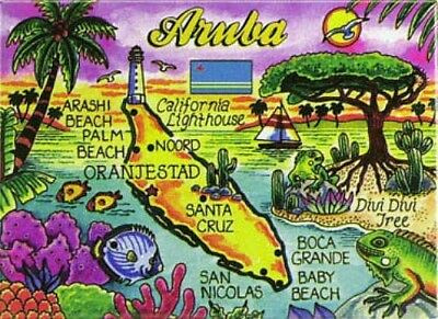 "Aruba Map Caribbean Fridge Collector's Souvenir Magnet 2.5"" X 3.5"""