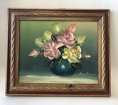 Antique Oil On Canvas Painting  Pink Red Roses Signed Boudris