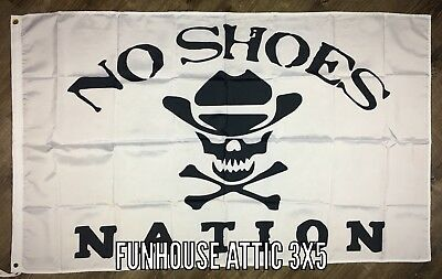 NO SHOES NATION White Flag 3X5 ft Skull Banner Kenny Chesney Country Music NEW