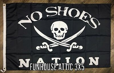 NO SHOES NATION Black Flag 3X5 ft Skull Banner Kenny Chesney Country Music NEW