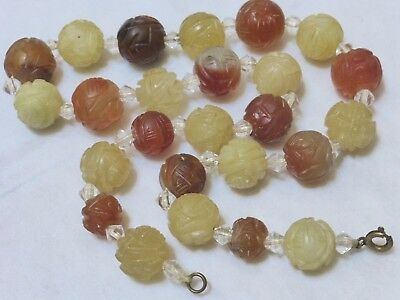 ANTIQUE CHINESE CARVED JADE OR CARNELIAN SHU BEAD NECKLACE, 72 grams