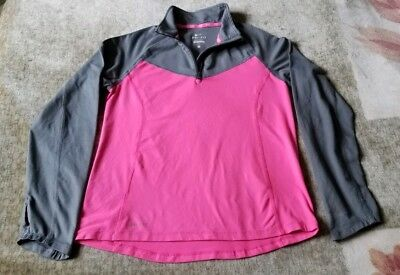 Girls Youth Kids Nike Athletic Shirt Large pink gray Long Sleeve Dri Fit 10-12