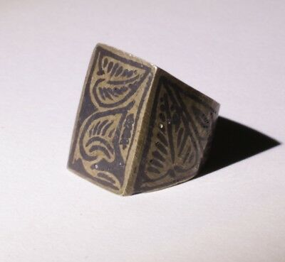 Nice Post Medieval Silver Ring With Niello Inlay  - No Reserve! 011