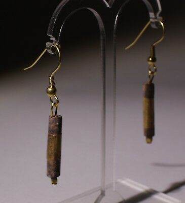 2 X Ancient Carved Lapis Lazuli And Gold Bead Earrings - No Reserve 02