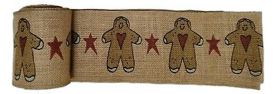 "Primitive GINGERBREAD MAN Burlap Christmas Ribbon, 4"" by 10 Feet, Country House"