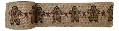 "Primitive GINGERBREAD MAN Burlap Christmas Ribbon, 2"" by 10 Feet, Country House"