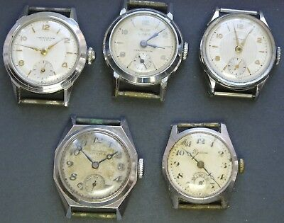 JOB LOT of 5x vintage c1940s mechanical watches