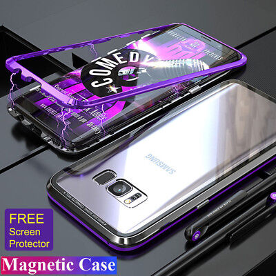 For Samsung Galaxy S8 S9 S9+ Magnetic Adsorption Metal Case Tempered Glass Cover