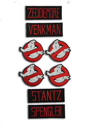 Ghostbusters Costume Accurate Name and Logo Patch Set , 8 Embroidered Badges