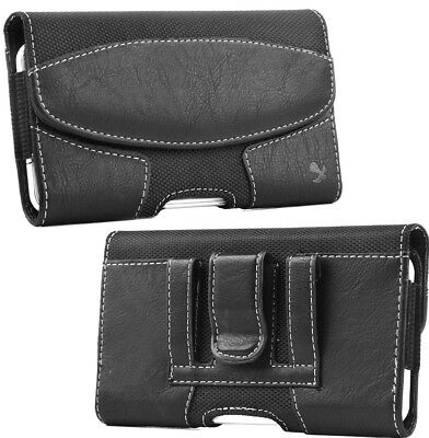"""for iPhone XR (6.1"""") - BLACK Suede Leather Pouch Holder Belt Clip Holster Case"""