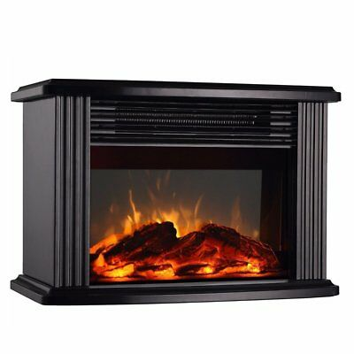 Electric Fireplace Portable Heater Black Metal Frame,Room Heater,Space Heater