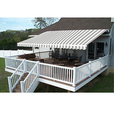 ALEKO Retractable Patio Awning 10'X8' Deck Sunshade Grey/White Stripe Color