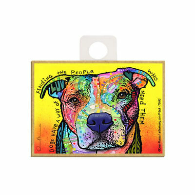 Pit Bull Dogs Have A Way Of Finding People Dog Dean Russo Wood Fridge Magnet