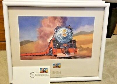 "Five ""All Aboard"" Ted Rose Railroad Train Prints Framed With Postage Stamps"