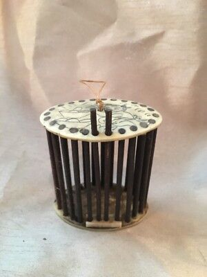 Antique Vintage Old Chinese or Japanese Butterfly Cricket Bug Cage Bone Bamboo