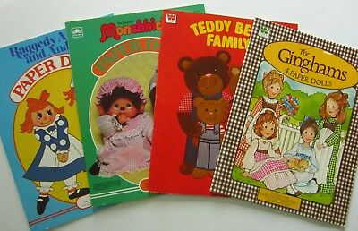 Lot of 4 Vintage Paper Doll Books Whitman Raggedy Ann The Ginghams Monchhichi+