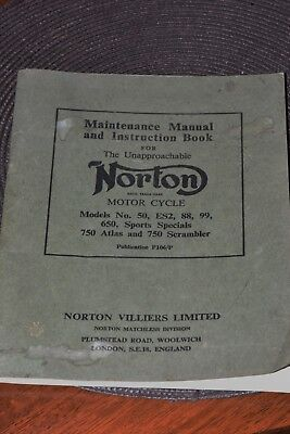 Norton vintage motorcycle Original Maintenance Manual and Instruction Book