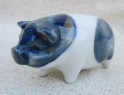 Pig Figurine White With Blue Spots Small Size Spotted Hog Piggy