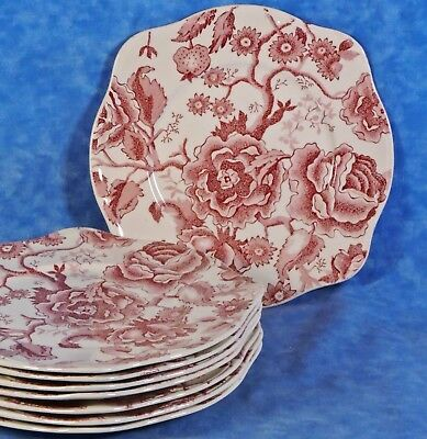 8 Johnson Brothers ENGLISH CHIPPENDALE Red/Pink Square Salad Plates- England-EUC