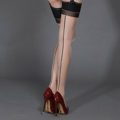Women Classic Ladies Stretchy Seamed Stockings Thigh Highs Pantyhose Back Seam