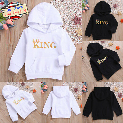 Toodle Kid Baby Boy Girl LIL' KING Letter Hooded Long Sleeve T-Shirt Tops Outfit