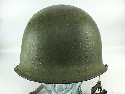 WW2 US Army USMC M1 steel pot helmet front seam swivel bale