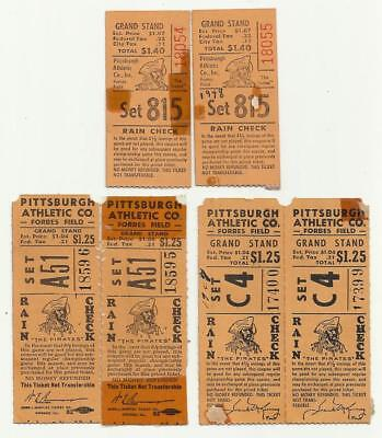 6 Pittsburgh Pirates Ticket Stubs 1947-48 Forbes Field Grand Stand MLB Baseball