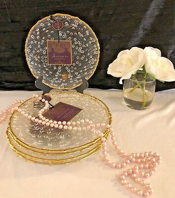 Artistic Accents CLEAR Glass Bubble GOLD TRIM SALAD PLATES SET OF 4 NEW