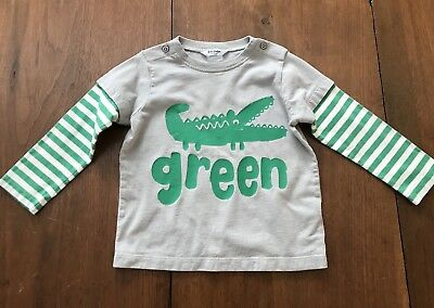 Mini Boden Boys Gray Green Alligator Striped Sleeve Shirt 18 To 24 Months VGUC