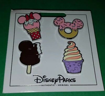 Disney Pins Treats Set Dole Whip Donut Ice Cream Bar 4 Pins NOC Free Shipping