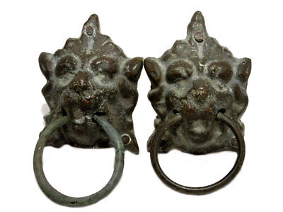 LOT of TWO ANTIQUE BRONZE LION HEADS DOOR MOUNTS WITH LOOPS!!!