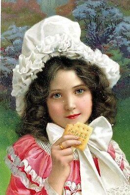 Gorgeous 1903 Ontario Biscuit Co Trade Card, Blue-Eyed Girl in Bonnet