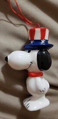Snoopy Peanuts Determined Vintage Ceramic Christmas Ornament Uncle Sam Bicent.