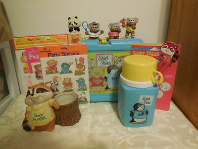 Vintage Shirt Tales Blue Lunch Box W/Thermos Stickers Figurines Pencils